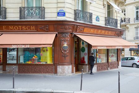 PARIS, FRANCE - JULY 22, 2017: Hermes fashion luxury store in avenue George V in Paris, France.