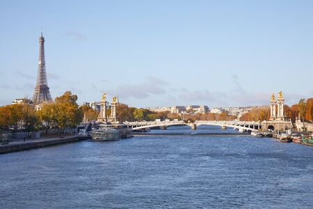Alexander III bridge, Eiffel tower and Seine river view in a sunny autumn day in Paris, France Stock fotó