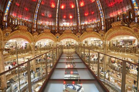 PARIS - NOVEMBER 6, 2019: Galeries Lafayette interior with Glasswalk installation in Paris, perspective Sajtókép