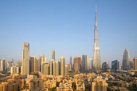 DUBAI, UNITED ARAB EMIRATES - NOVEMBER 19, 2019: Burj Khalifa skyscraper and city view in the early morning sunlight Stock fotó - 146809194