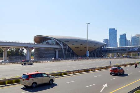 DUBAI, UNITED ARAB EMIRATES - NOVEMBER 22, 2019: Dubai metro station building view in a sunny day, clear blue sky