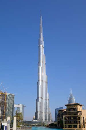 DUBAI, UNITED ARAB EMIRATES - NOVEMBER 19, 2019: Burj Khalifa skyscraper and clear blue sky in a sunny day in Dubai Sajtókép
