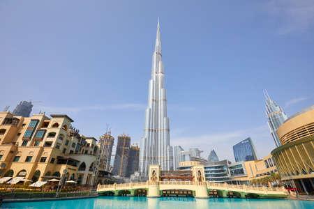 DUBAI, UNITED ARAB EMIRATES - NOVEMBER 19, 2019: Burj Khalifa skyscraper, Souk al Bahar and Dubai Mall in a sunny day