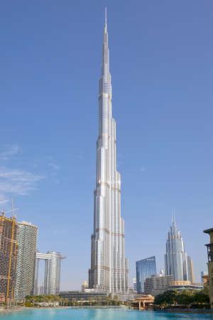 DUBAI, UNITED ARAB EMIRATES - NOVEMBER 19, 2019: Burj Khalifa skyscraper in a clear sunny morning in Dubai