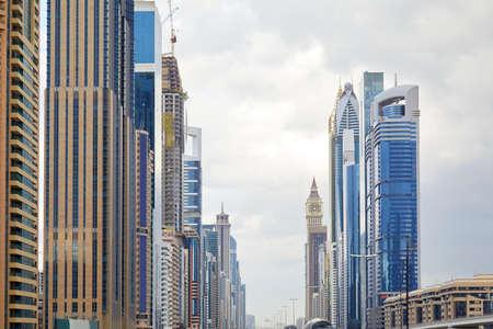 DUBAI, UNITED ARAB EMIRATES - NOVEMBER0 21, 2019: Sheikh Zayed Road skyscrapers in a cloudy day Sajtókép