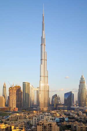 DUBAI, UNITED ARAB EMIRATES - NOVEMBER 22, 2019: Burj Khalifa skyscraper and city view in a sunny day, blue sky