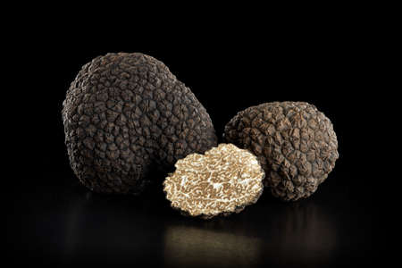 Black truffles group and slice on black, clipping path included Stock fotó