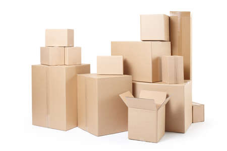 Cardboard boxes stack isolated on white Stock fotó