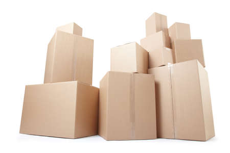 Cardboard boxes stack isolated on white, clipping path Stock fotó