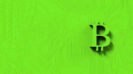 green bitcoin gold sign icon Isolated with color background. 3d render isolated illustration, cryptocurrency, crypto, business, managment, risk, money, cash, growth, banking, bank, finance, symbol. Standard-Bild - 157120601