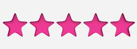 3d five pink star on color background. Render and illustration of golden star for premium