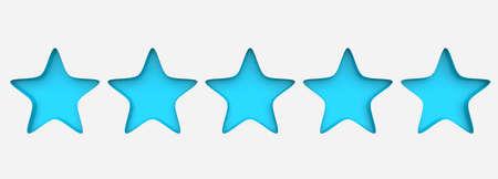 3d five azure star on color background. Render and illustration of golden star for premium Standard-Bild