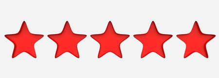 3d five red star on color background. Render and illustration of golden star for premium Standard-Bild