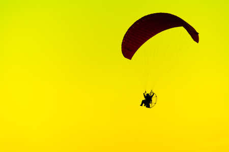 Paramotor Silhouette Sunset Yellow Light Cloudy Background Stock Photo