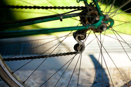 Bicycle chain on old dark green bike with light green lawn Stock Photo