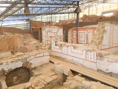 Roman stone terraced houses room with decorated walls in ephesus Archaeological site in turkey Фото со стока