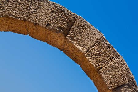 hippodrome: Roman old stone arc in caesarea Archaeological site close to Herod the Great hippodrome Stock Photo