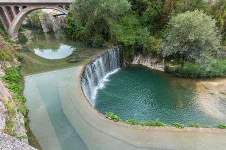 veiw: Sassoferrato veiw of teh waterfalls in Marano bridge