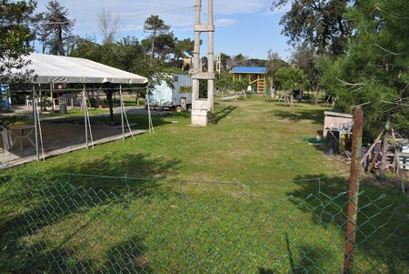 Lawn with old concrete pylon Imagens - 56305779