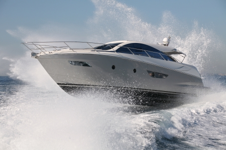 motor boat: motor boat, yacht jump Stock Photo