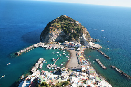 Bay of Sant Angelo in Ischia, Italy aerial view