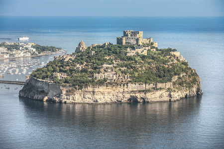 Aragonese castle in Ischia, a little island in the bay of Naples, air view
