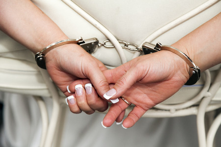 handcuffs wedding Stock Photo