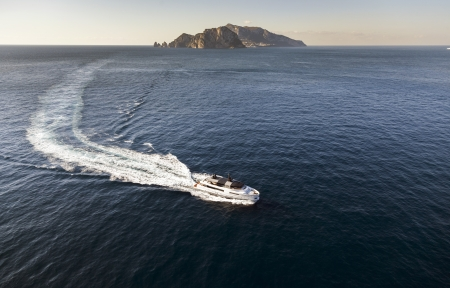 motor yacht near capri island Italy Stock Photo