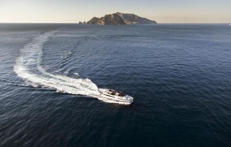 motor yacht near capri island Italy Standard-Bild