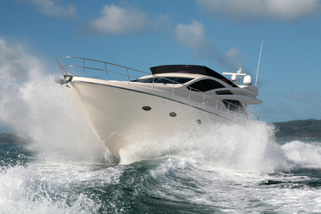 bow of boat: motor yacht Stock Photo