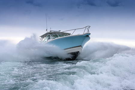 bow of boat: motor boat jump