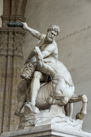 greco roman  roman: Hercules and the Centaur Sculpture, Florence, Italy Stock Photo