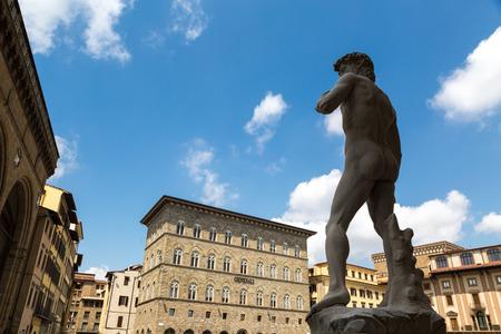 The statue of David by Michelangelo on the Piazza della Signoria in Florence, Italy Standard-Bild