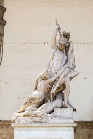 pio: The Rape of Polyxena sculpture by Pio Fedi in Loggia della Signoria. Florence, Italy