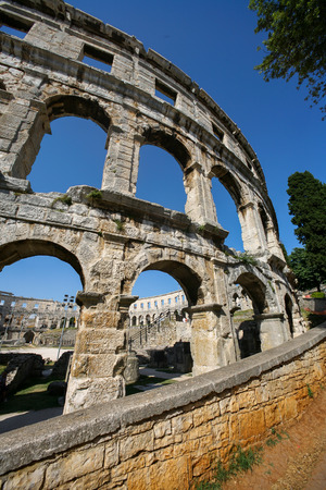 Croatia, Pula, Ruins of a Roman amphitheatre built in the first century AD during the reign of the Emperor Vespasian Stock Photo