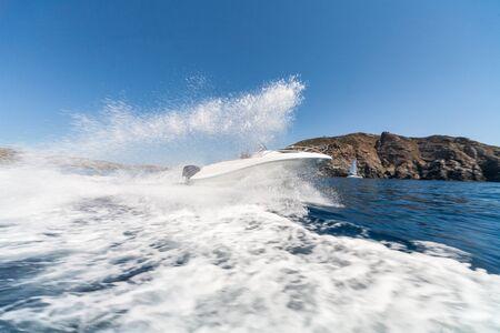 Speedboat having funin sardinia sea Stock Photo
