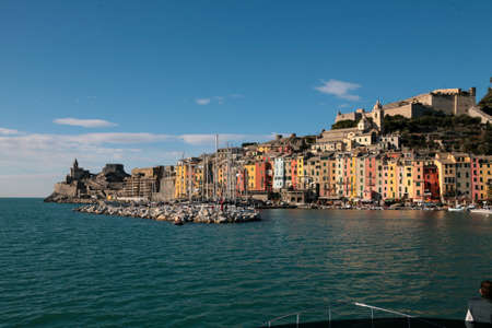 Porto Venere, italy, landscape with colorful houses and the fortress