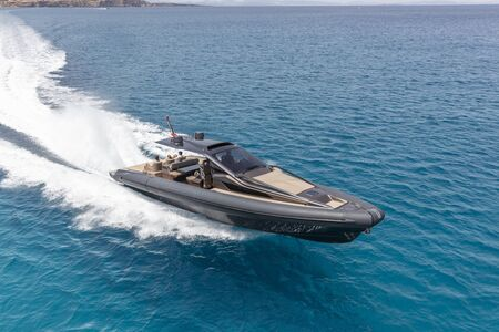 inflatable motor boat in formentera, navigate in the beautiful sea of baleares islands