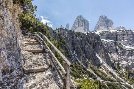 Rienza valley hiking way to go to The Three Peaks of Lavaredo (Tre Cime di Lavaredo)