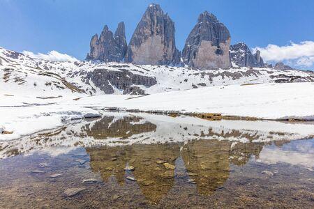 Amazing view of The Three Peaks of Lavaredo (Tre Cime di Lavaredo). Trentino Alto Adidge, Dolomites mountains, South Tyrol, Italy, Europe