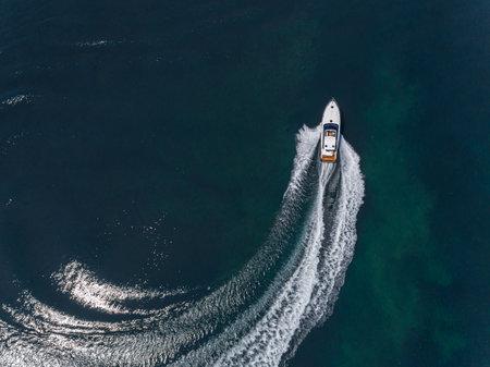 motor boat in navigation aerial view