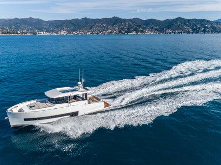fast motor yacht in navigation, sea view Banco de Imagens