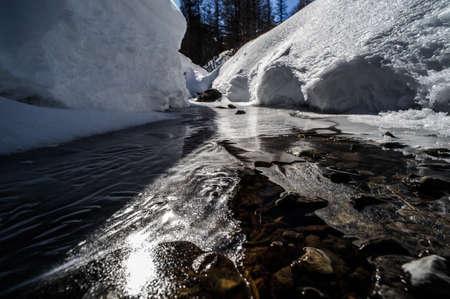 frozen river: frozen river in Stelvio nature park Stock Photo