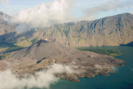 caldera: lake of Rinjani from then ridge with caldera Stock Photo