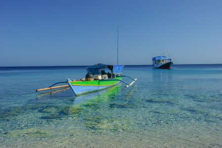 nusa: fishing boat in nusa tengara beach, Indonesia Stock Photo