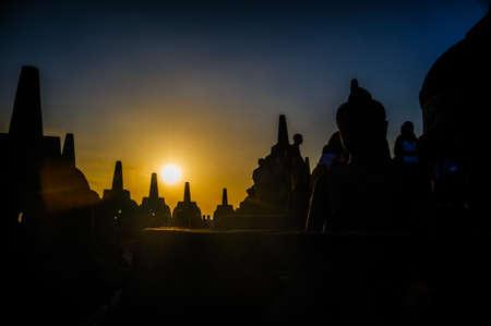 borobudur: Borobudur sunrise,, Java, Indonesia