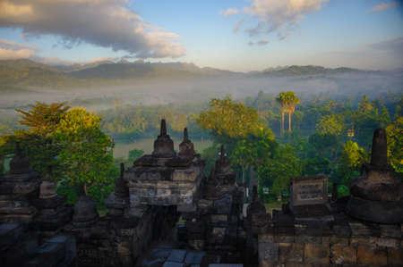 borobudur: Borobudur at sunrise, Java, Indonesia