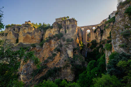 ronda: new Ronda bridge from gorge, Spain Stock Photo