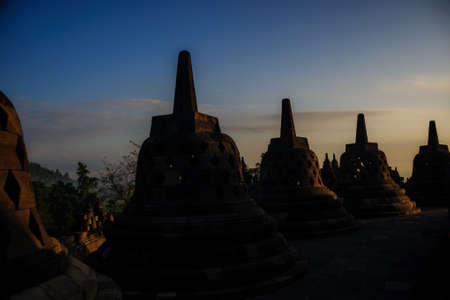 unesco: borobudur sunrise, unesco world heritage site, java, indonesia Stock Photo
