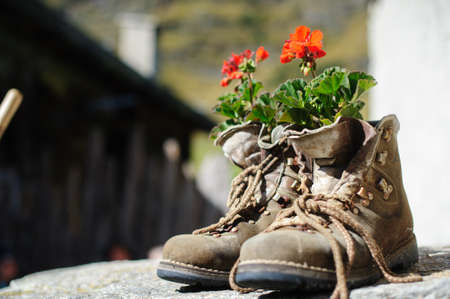 walking boots: if you do not want more walking boots are always useful Stock Photo